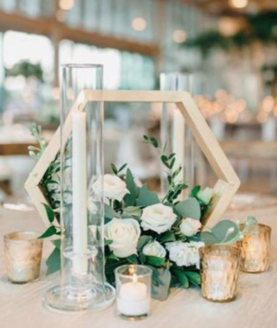 simple wood wedding centerpiece