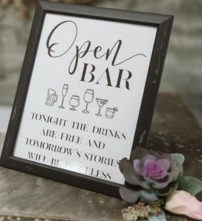 open bar wedding